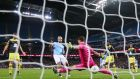 Sergio Aguero scores Manchester City's third goal against Southampton. Photograph: Alex Livesey/Getty Images