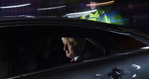 UK prime minister Boris Johnson departs from the houses of parliament on Tuesday night after securing an election. Photograph:  Chris J Ratcliffe/Getty Images