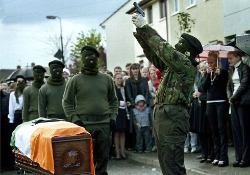 Joe O'Connor was a dissident republican who was killed in West Belfast on October 13th, 2000. At his funeral there was one of the last republican shows of strength. No one had told us for sure that it was going to take place, and I just happened to be in the right spot. Photograph: Hugh Russell