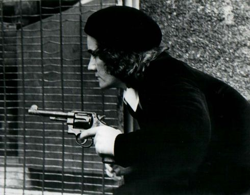 I took this photograph of a member of Cumann na mBan, an Irish women's republican paramilitary organisation, in the late 1970s on the Falls Road. The woman was part of an active service unit that appeared at a rally and caused quite a sensation.Photograph: Martin Nangle