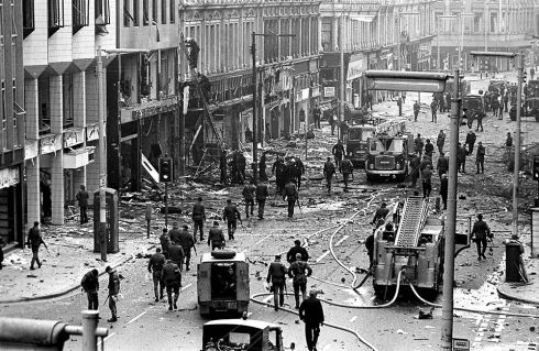 The aftermath of a 1,000lb bomb that detonated in Belfast city centre March 28th, 1974. Photograph: Trevor Dickson
