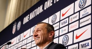 Vlatko Andonovski at a news conference to announce his appointment as the new head coach of  the US  women's national soccer team in New York. Photograph: Brendan McDermid/Reuters