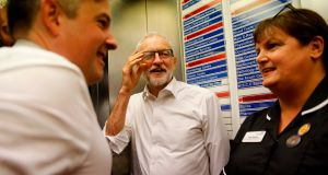"Labour leader Jeremy Corbyn at Crawley Hospital: ""The US has called for 'full market access' to our NHS, which would mean prices of some of our most important medicines increasing by up to sevenfold."" Photograph: Tolga Akmen/AFP"