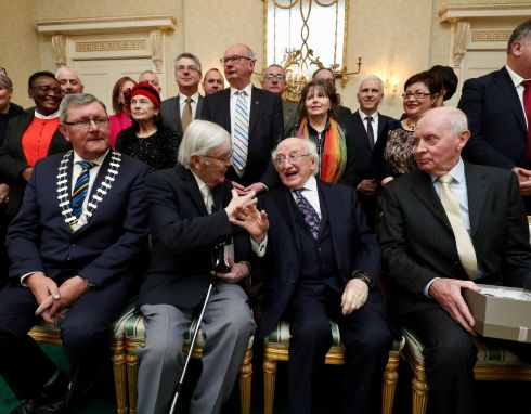 PEACE TOGETHER: President Michael D Higgins welcomes members of the Tipperary Peace Committee to Áras an Uachtaráin to mark the initiative's 35th anniversary. Photograph: Maxwell's