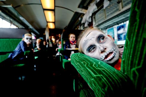 SCARE STORY: Molly Gleeson (8) at Dublin's Heuston Station for the An Post Storytime Express event. Photograph: Maxwell's