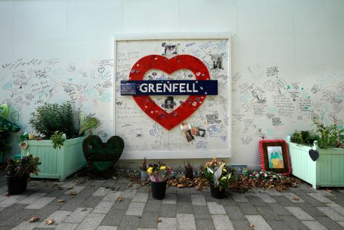 GRENFELL TOWER: A wall displays tributes to victims of the Grenfell Tower fire, close to the site of the tower in London, Britain. Photograph: Will Oliver/EPA
