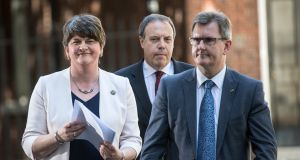 Arlene Foster,   DUP leader, party deputy leader, Nigel Dodds  and MP Jeffrey Donaldson. File photo. Photograph:  Carl Court/Getty