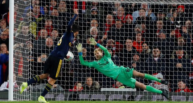 ผลการค้นหารูปภาพสำหรับ liverpool v arsenal carabao cup goal save