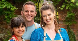 The Great British Bake Off 2019 finalists (left to right) Steph, David and  Alice. Photograph: C4/Love Productions/Mark Bourdillon/PA Wire