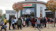 People queue outside the newly opened Krispy Kreme outlet at Blanchardstown Shopping Centre last year. File photograph: Aidan Crawley