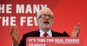 Britain's opposition Labour Party leader Jeremy Corbyn speaks at a launch event for the Labour party's general election campaign in London on Thursday. Photograph: Henry Nicholls/Reuters