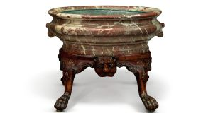 Presumed Irish, George II Walnut and Rouge Royal marble wine cooler (1740) achieved $43,750 through Sotheby's
