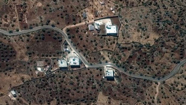 A satellite view of the reported residence of al-Baghdadi, said to be near the village of Barisha in Syria, and collected on September 28th. Photograph: Reuters