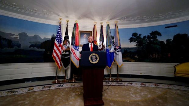 US president Donald Trump makes a statement at the White House on October 27th following reports that US forces attacked Abu Bakr al-Baghdadi in northern Syria. Photograph: Jim Bourg/Reuters