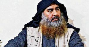 Late Islamic State leader Abu Bakr al-Baghdadi in an undated image. The death of Al-Baghdadi will undoubtedly weaken Islamic State in important respects. Photograph: US department of defense/Reuters