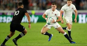 England's George Ford against the All Blacks. England have way more passing and kicking inventiveness than South Africa in their dual playmakers Ford and Owen Farrell.  Photograph: Stu Forster/Getty Images