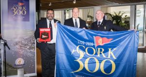 Colin Morehead, chair of Cork300, Prince Albert II, and Pat Farnan, admiral of the Royal Cork Yacht Club