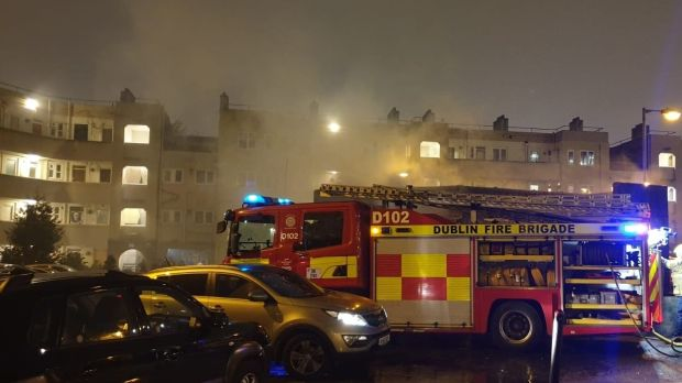 Halloween: Fire officers were attacked early on Thursday evening while putting out a bin fire near Pearse Street in Dublin. Photograph: Dublin Fire Brigade/Twitter