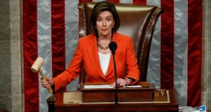 Speaker of the House Nancy Pelosi as the US House of Representatives voted to set up the next steps in the impeachment inquiry of President Donald Trump. Photograph: Tom Brenner