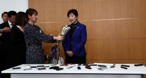 Tokyo Governor Yuriko Koike speaks to the media after a meeting with the International Olympic Committee. Photo: Behrouz Mehri/Getty Images