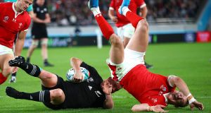 New Zealand's Ryan Crotty scores their fifth try during the Rugby World Cup third-place playoff against Wales. Photo: James Crombie/Inpho