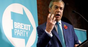 "Brexit Party leader Nigel Farage at the party's election campaign launch in London on Friday. ""We will contest every seat in England, Scotland and Wales. Don't doubt that we are ready."" Photograph: Peter Nicholls/Reuters"