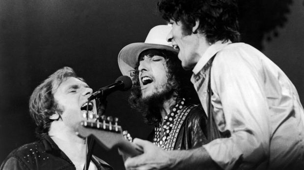 From left to right: Van Morrison, Bob Dylan and The Band's Robbie Robertson onstage in 1976. The performance was filmed for Martin Scorsese's The Last Waltz. Photograph: United Artists/Getty