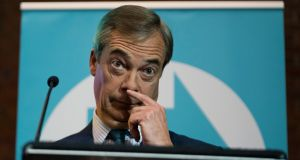 Brexit Party leader Nigel Farage urged Johnson to drop the deal he negotiated with the EU. Photograph: Will Oliver/EPA