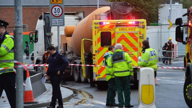 The scene of the fatal collision on Friday outside the construction site of the National Children's Hospital, off the South Circular Road. Photograph: Alan Betson / The Irish Times