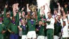 Siya Kolisi lifts the Webb Ellis Cup. Photograph: David Rogers/Getty