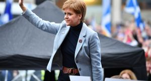 Scotland's first minister Nicola Sturgeon addresses the  rally in George Square  in Glasgow on Sunday. Photograph: Jeff J Mitchell/Getty Images