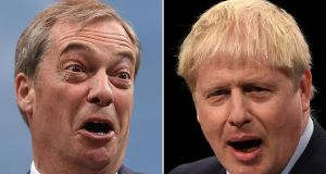 UK prime minister and Conservative Party leader Boris Johnson (R) and Brexit Party leader Nigel Farage (L) giving speeches. Photograph: Oli Scarff,Beb Stansall/AFP/Getty Images)