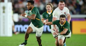 Lukhanyo Am: his  skills and vision as a playmaker for South Africa had been largely kept under wraps until the final. Photograph: Cameron Spencer/Getty Images