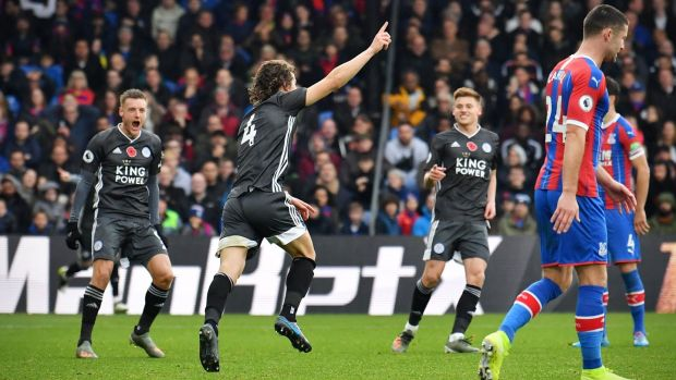 Caglar Soyuncu opened the scoring for Leicester City against Crystal Palace. Photograph: Ben Stansall/AFP/Getty