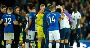 Tottenham Hotspur's Son Heung-min is sent off after after his tackle injures Everton's Andre Gomes. Photograph: PA