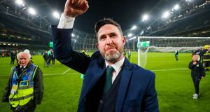 "Shamrock Rovers manager Stephen Bradley celebrates after the FAI Cup final victory over Dundalk. ""To go to the next level, to go and win leagues, you have to win something.""  Photograph: Oisín Keniry/Inpho"