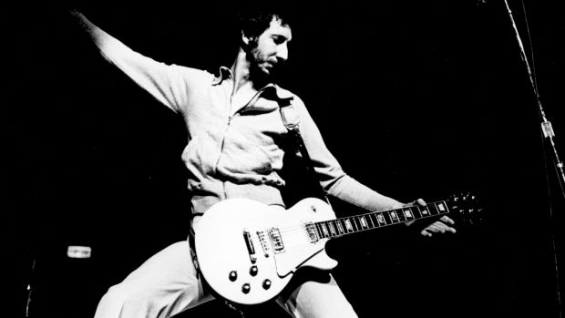 Pete Townshend in action for The Who in 1972. File photograph: Michael Ochs Archives/Getty Images