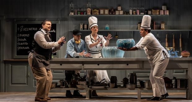 Sheldon Baxter, Manuel Amati, Máire Flavin and Emmanuel Franco in Rosetta Cucchi's 2019 world premiere production of 'La cucina' by Andrew Synnott, at Wexford Opera Festival. Photograph: Clive Barda