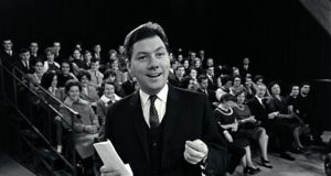 Gay Byrne on the set of The Late Late Show in 1966. He hosted the primetime TV show live every Friday evening until 1999, often without the aid of an autocue or earpiece. Photograph: RTÉ