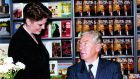 Róisín Ingle gets her copy of The Time of My Life signed by Gay Byrne in Eason's