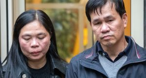 Teresita and Danilo Valdez, the parents of Jastine Valdez, after the inquest into their daughter's death at Dublin Coroner's Court on Monday. Photograph: Colin Keegan/Collins.