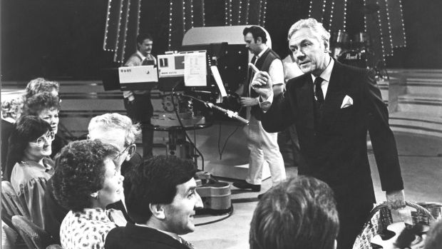 "Gay Byrne hosting The Late Late Show in 1986. ""We looked at new ways of entertaining and that was it,"" he once said. Photograph: Jack McManus"