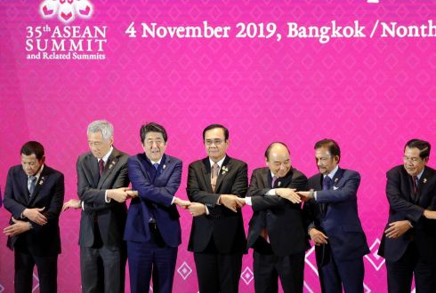 TALKING SHOP: From left are Philippines president Rodrigo Duterte, Singapore's PM Lee Hsien Loong, Japan's PM Shinzo Abe, Thailand's PM Prayut Chan-o-cha, Vietnam's PM Nguyen Xuan Phuc, Brunei's Sultan Hassanal Bolkiah, and Cambodian PM Hun Sen, during the summit of the Association of Southeast Asian Nations (ASEAN) and Japan at Impact Muang Thong Thani, Nonthaburi province, Thailand. Photograph: Nyein Chan Naing/EPA