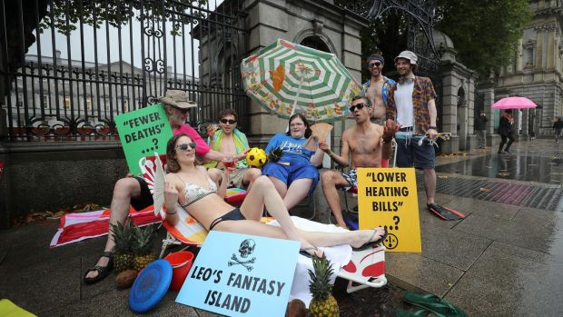 Extinction Rebellion Climate Activists stage protest at the entrance to Dáil after Varadkar's comments. Photograph: Nick Bradshaw