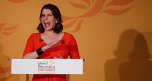 Leader of Liberal Democratic Party Jo Swinson. Photograph:  Hollie Adams/EPA
