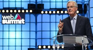 Michel Barnier speaking at the Web Summit in Lisbon.