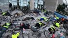 I Bike Dublin staged a 'die-in' protest at Dublin City Council's offices on Wood Quay. Photograph: Dara Mac Dónaill