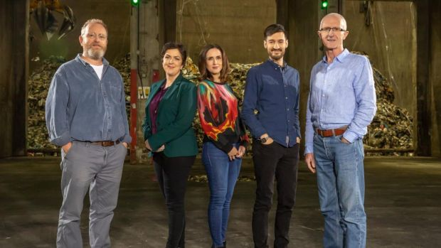 Dr Brian Kelleher, Prof Fiona Regan, presenter Maia Dunphy, Dr Marco Springmann and Prof JJ Leahy on What Planet Are You On?