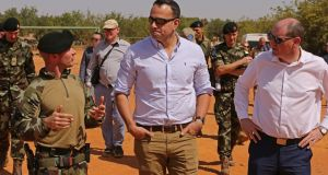 Taoiseach Leo Varadkar visiting Irish troops in Mali in January. The troops were there in a non-combat training role, but since September 14 members of the Army Ranger Wing have been active as part of the UN mission in the country. Photograph: Defence Forces