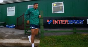 Bundee Aki at Connacht's training session at the Sportsground in Galway on Tuesday. Photograph:  Tom O'Hanlon/Inpho